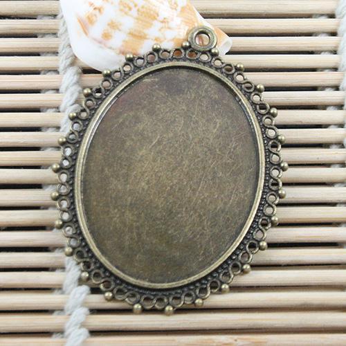 5 piezas de bronce Antiqued de 54x40mm ovalada cabujón configuración / foto EF0686 marco
