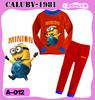 Wholesale -new boy's pajamas Despicable Me baby colothes 2 pcs sets Childrensuit outfit suit Pajamas girl's homewear -WHP831G