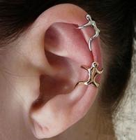 ingrosso polsini dell'orecchio di natale-UK Hot Silver Gold Climbing Uomo Naked Climber Ear Cuff Helix Cartilage Clip-on Orecchino Natale 80643