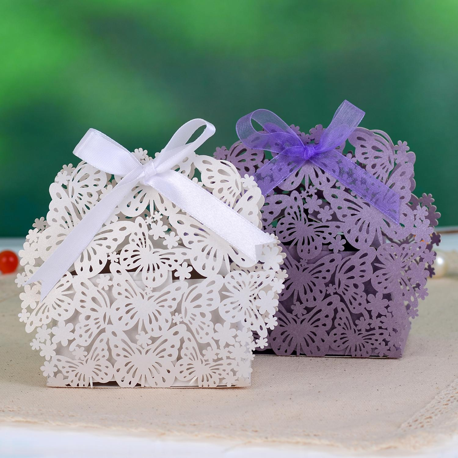 butterfly flower laser cut paper wedding favor candy box boxes