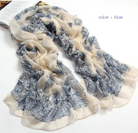 Fashion style blue and white porcelain fluid Chiffon Scarfs ...