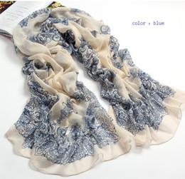 Wholesale Women Beach Scarf Wrap - Fashion style blue and white porcelain fluid Chiffon Scarfs Wraps Autumn And Beach Scarf Summer cape Women Scarf Shawl Color U choose YR1