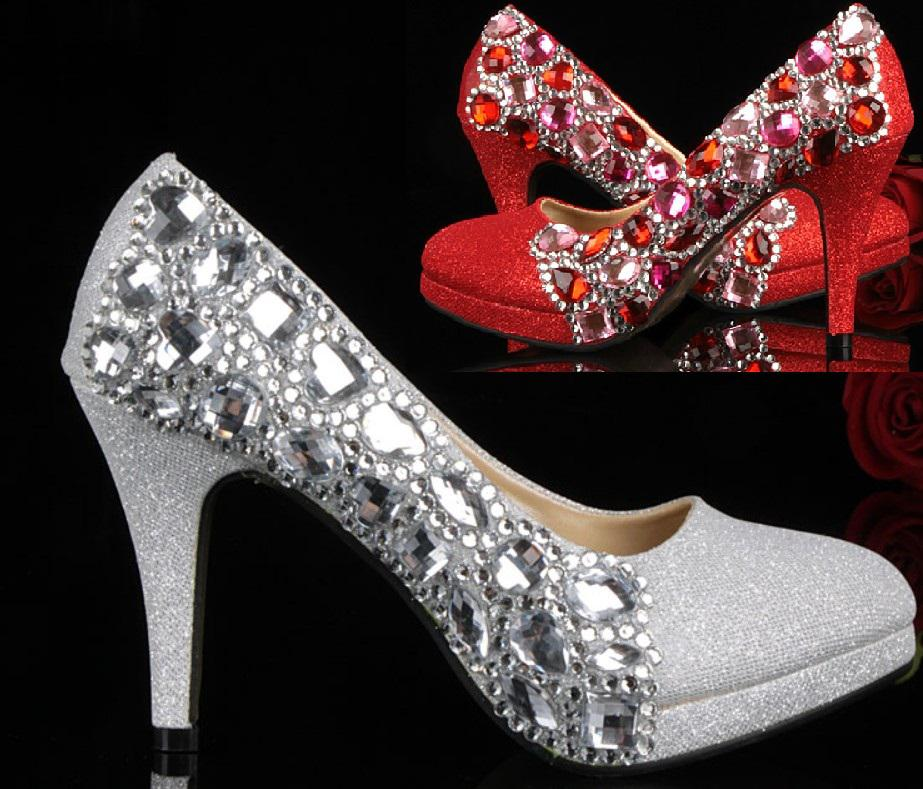 Unique Silver Red Crystal High Heeled Shoes Wedding Bride Party ...