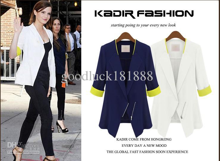 Новый женский Девушки Мода нагрудные пиджаками корейской дамы Стиль Sexy V-образным вырезом Куртка благородных одежду куртки