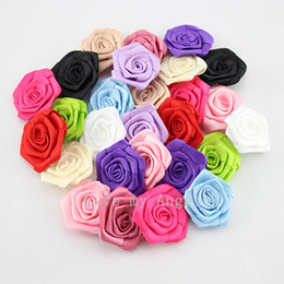 Wholesale Rosette Bows - Free shipping pink satin ribbon rose flower handmade rolled Rosettes DIY rose flower accessories 120pcs lot 12color mix color