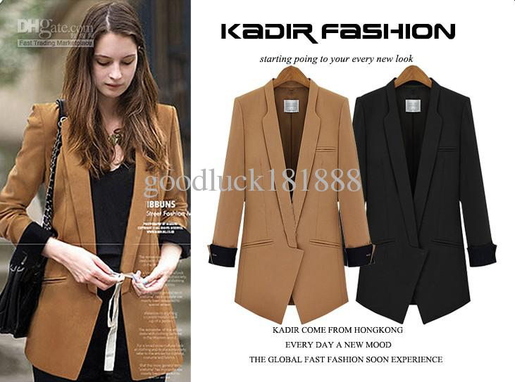 Новая осень зимних женщин Девушки Мода нагрудные пиджаками Дамы Sexy V-образным вырезом куртка с длинным рукавом Благородный Одежда Куртки
