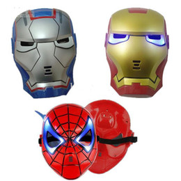 Discount black spider man mask - 2018 new fashion GLOW In The Dark LED Iron Man Spider Man Mask Halloween Costume Theater Prop Novelty Make Up Toy Kids