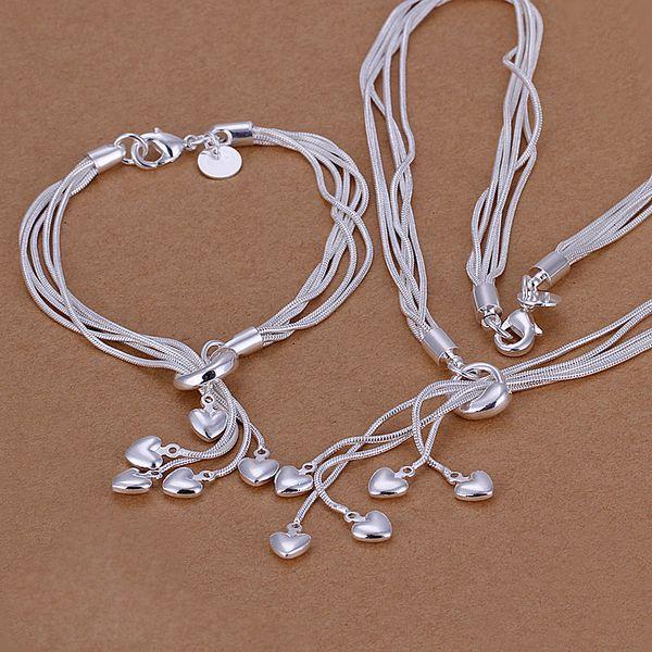 Großhandel - niedrigster Preis Weihnachtsgeschenk 925 Sterling Silber Fashion Halskette + Ohrringe Set S009