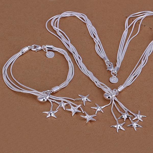 Groothandel - laagste prijs kerstcadeau 925 Sterling zilveren mode ketting + oorbellen Set QS004