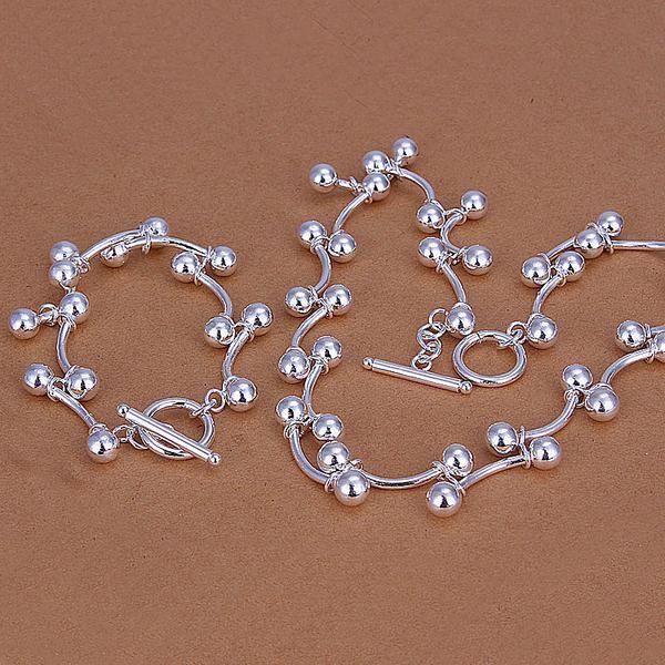 Großhandel - niedrigster Preis Weihnachtsgeschenk 925 Sterling Silber Fashion Halskette + Ohrringe Set QS023