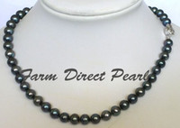 Celtic black peacock pearls - New fine pearl jewelry Genuine natural mm Peacock Black Pearl Strand Necklace quot