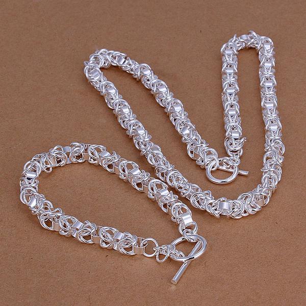 Al por mayor - el precio más bajo regalo de Navidad de plata de ley 925 Collar de moda + Pendientes conjunto QS026