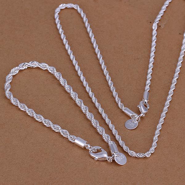 Commercio all'ingrosso - prezzo più basso regalo di Natale 925 Sterling Silver Fashion Necklace + Orecchini set QS028