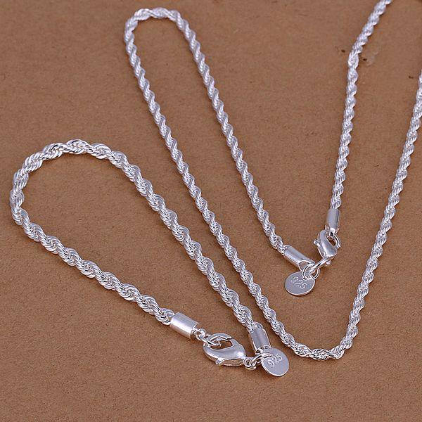 Groothandel - laagste prijs kerstcadeau 925 Sterling zilveren mode ketting + oorbellen Set QS028