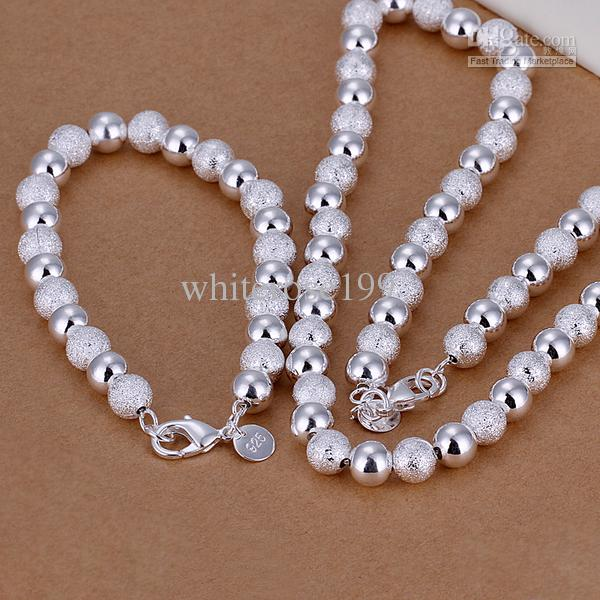 Großhandel - niedrigsten Preis Weihnachtsgeschenk 925 Sterling Silber Fashion Halskette + Ohrringe Set QS031
