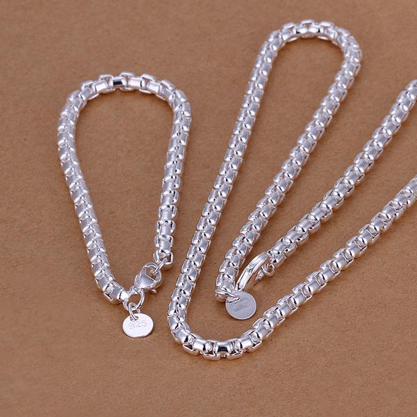Großhandel - niedrigster Preis Weihnachtsgeschenk 925 Sterling Silber Fashion Halskette + Ohrringe Set QS033