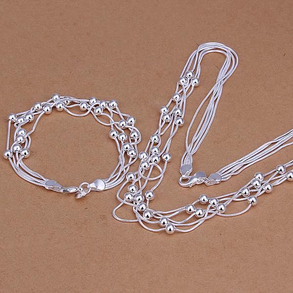 Commercio all'ingrosso - prezzo più basso regalo di Natale 925 Sterling Silver Fashion Necklace + Earrings set QS036