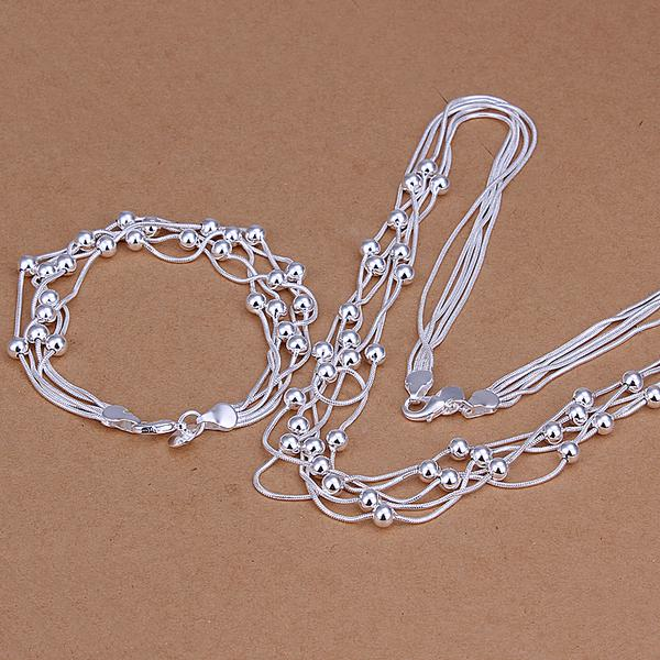 Groothandel - laagste prijs kerstcadeau 925 Sterling zilveren mode ketting + oorbellen Set QS036