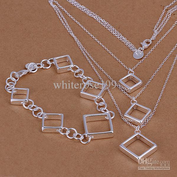 Al por mayor - precio más bajo regalo de Navidad 925 Sterling Silver Fashion Necklace + pulseras set QS037