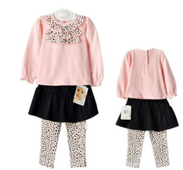 Wholesale Winter Weave Styles - Wholesale - Spring autumn baby clothing Leopard print dress T-shirt+skirt leggings pink, cotton 6s l