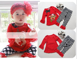 Wholesale Girls Ruffle Shirt Embroidery - 2017 halloween Christmas baby Ruffled Lace T-shirt ruffled pants girls 2pc set baby baby winter clothes outfits set