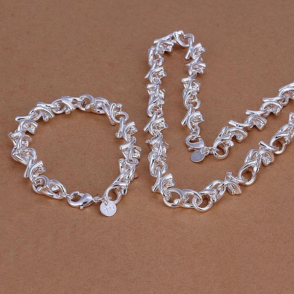Al por mayor - el precio más bajo regalo de Navidad de plata de ley 925 Collar de moda + Pendientes conjunto QS039