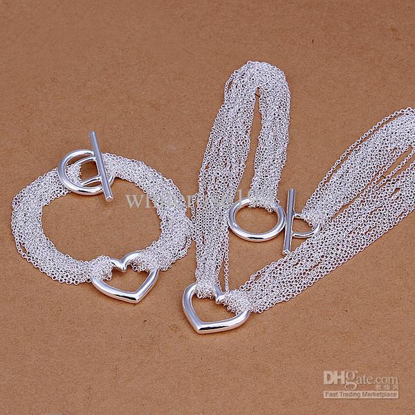 Großhandel - niedrigster Preis Weihnachtsgeschenk 925 Sterling Silber Fashion Halskette + Ohrringe Set QS042