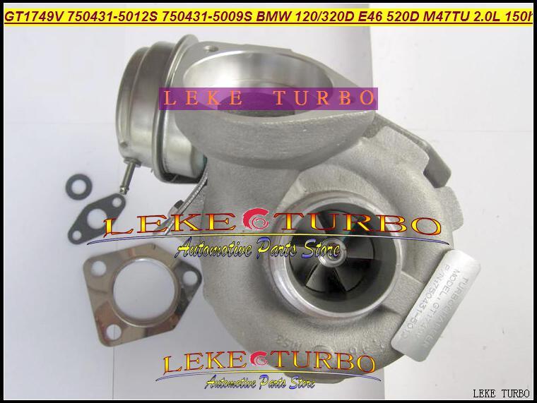 Partihandel NEW GT1749V 750431-5012S 750431-5009S 750431 Turbin Turbo Turbocharger för BMW 120d 320D E46 520D Motor M47TU 2.0L 150HP
