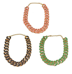 Wholesale Europe Style Gold Plated Metal Pink Green Black Resin Gem Llink Chain Choker ecklaces N