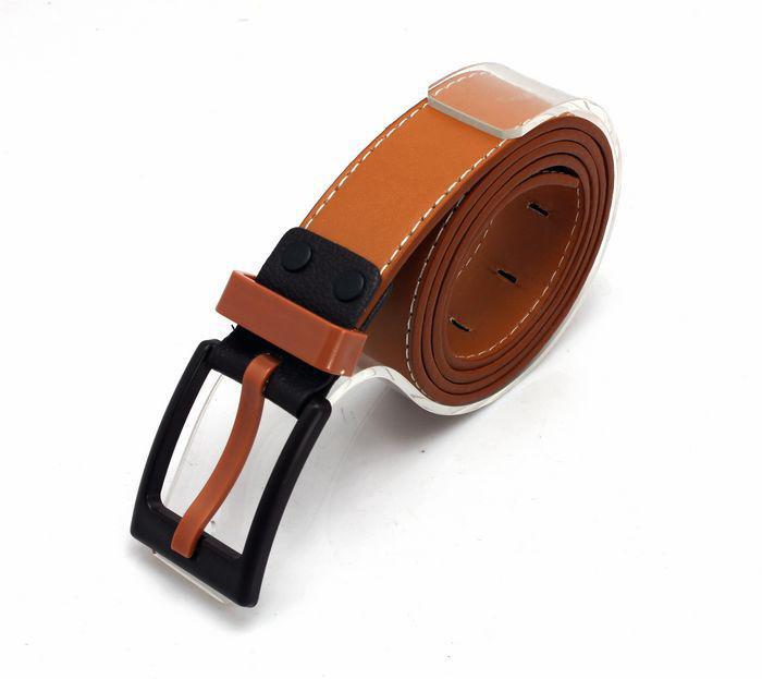 Cinturones de cuero de PU de Brown para hombre coreano Cinturones antialérgicos de hebilla