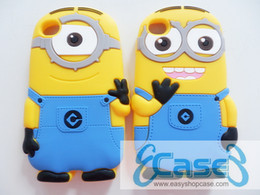 Wholesale Minions Iphone 4s Cases - 3D cute carton minions phone covers Soft Rubber silicon case for iPhone 4 4s Free DHL Shipping 500pcs lot