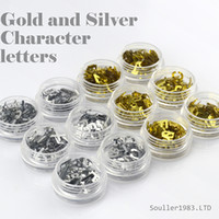 Wholesale Silver Nail Letter Art - New supernova Sale 3d Nail Art Decorations Gold and Silver Metal Character Letters For UV Gel &Acrylic Nail Decoration D104