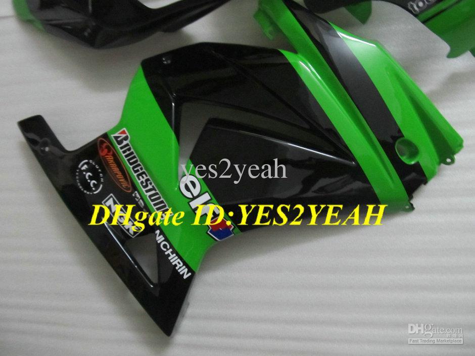 Karosserie-Kit für Injection Verkleidung für KAWASAKI Ninja ZX250R ZX 250R 2008 2012 EX250 08 09 10 12 grün schwarz Verkleidung Karosserie KH97