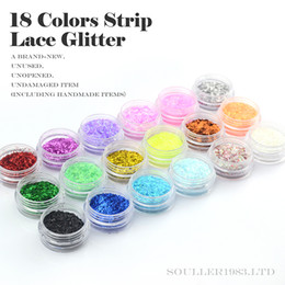 Wholesale New 3d Nail Decorations - New supernova Sale 3d Nail Art Decorations 18 Colors Strip Lace Glitter For UV Gel &Acrylic Nail Decoration D110