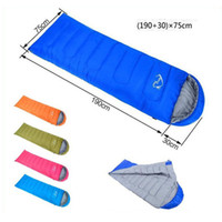 Wholesale Hot Cold Thermal Bags - Hot Sale Summer Autumn Envelope Hooded Adult Outdoor Thermal Cotton Single Sleeping Bag (190+30)*75 cm For Outdoor Camping Free Shipping