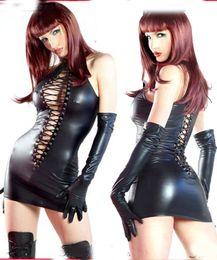 Wholesale Leather Underwear Women - SEXY lingerie Black PVC Sexy O Rings Catsuit Clubwear Underwear Dress Outfits Fancy Dress 710 one size 8--12