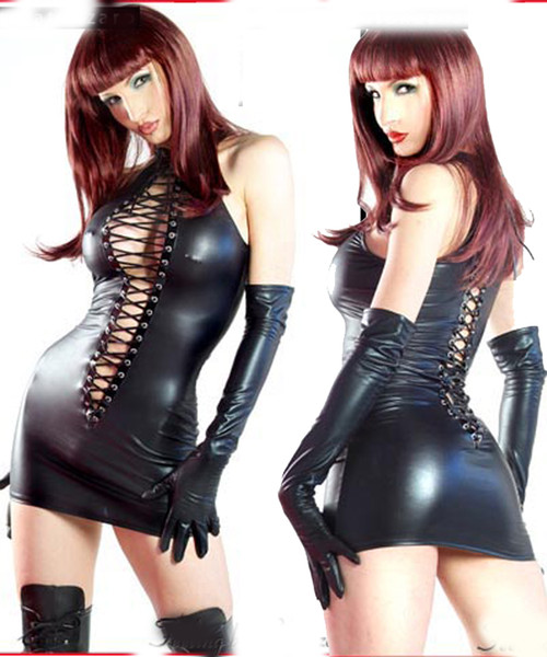 SEXY lingerie Black PVC Sexy O Rings Catsuit Clubwear Underwear Dress Outfits Fancy Dress 710 one size 8--12