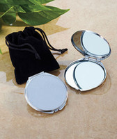 Wholesale Wholesalers Personalized Gifts - Personalized Compact Mirror Round Silver Metal Engraved Makeup Mirror Gift with Pouches Wedding Favors M0832 FREE SHIPPING