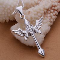 arco de plata collar de flecha al por mayor-Joyería de los hombres 925 de plata esterlina arco y flecha Cruz collar pendiente n289 caja de regalo envío gratis