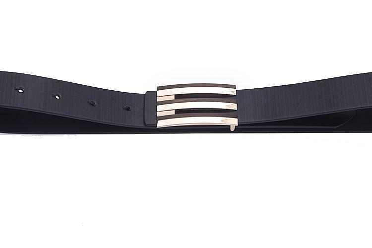 1 UNIDS Moda Corea Hombres Oro Hebilla Lisa Negro PU Cuero Cinturón Cinturón # 23636