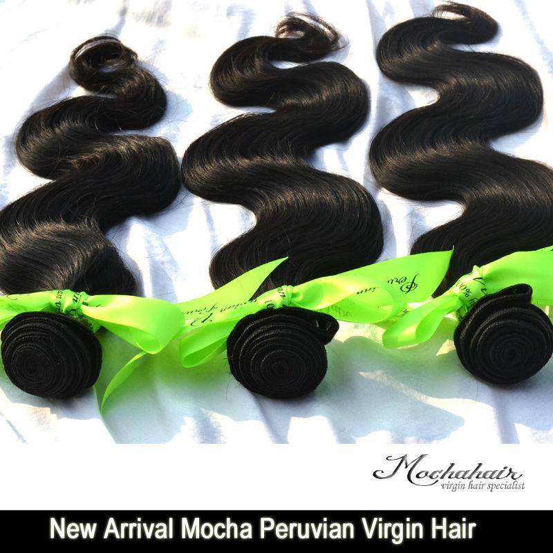 Nuovo arrivo vergine peruviana dei capelli del corpo dei capelli del mocha / 300g 12-26 groviglio libero di trasporto di colore naturale DHL