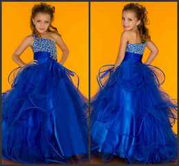 Wholesale kids ball gowns one shoulder - Hot 2018 New Arrival beaded little Kids Rhinestone One Shoulder Sugar Little Pageant Gown 81682S Flower Girl Dresses mac23