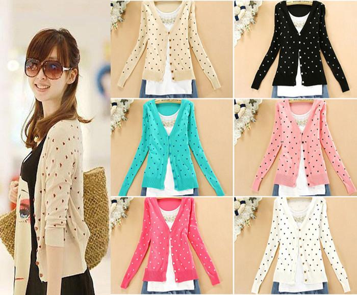 Discount Lady Cute Heart Shape Pattern Button Down Casual Knit ...