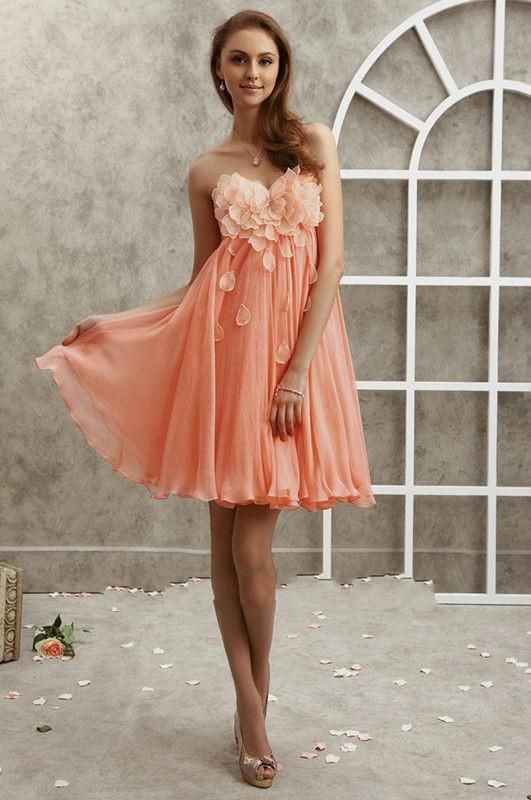2013 Flower Blooming Short Mini A-line Formal Dresses With Flower Bridesmaid Dresses Maid of the Honour Dresses