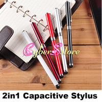 Wholesale S4 Stylus - New 2 in 1 Capacitive Stylus Touch & Writing Ink Pen For Tablet PC iPad IPOD iphone HTC Samsung Galaxy S4 All Cellphone