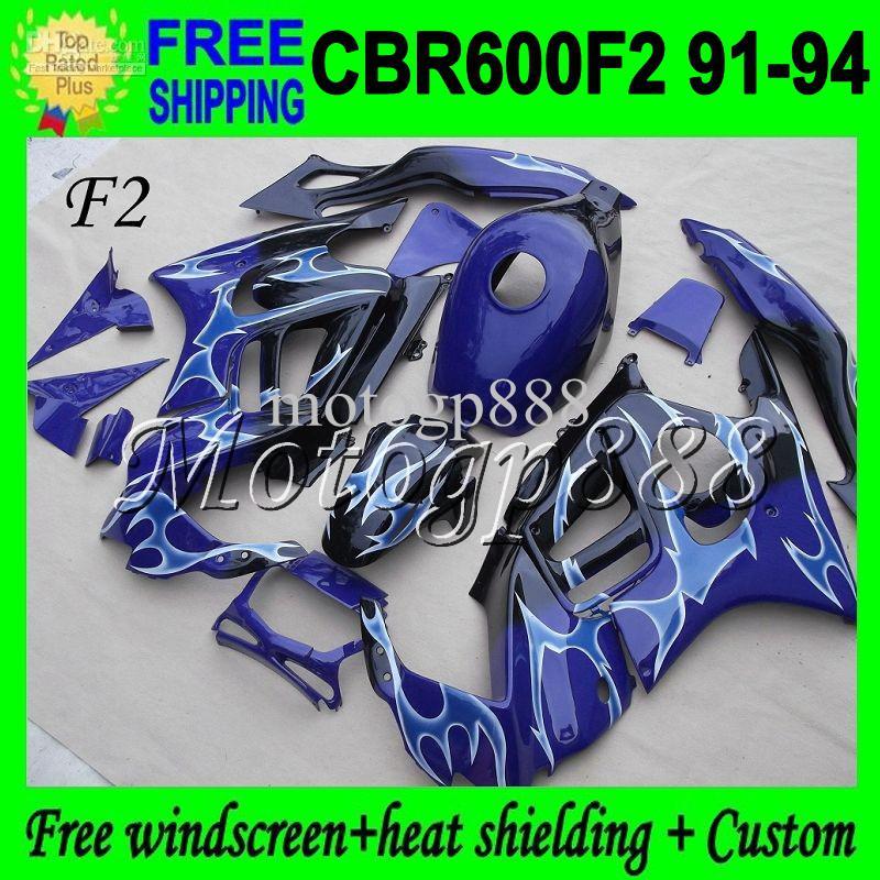 Tank + 2gifts F2 1992 1993 لهوندا أزرق غامق CBR600F2 1991 1994 CBR 600 F2 CBR600 Blue flame CBR 600F2 4Q1876 91 92 93 94 91-94 Fairings