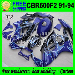 Wholesale Cbr F2 Blue - Tank+2gifts F2 1992 1993 For HONDA Dark blue CBR600F2 1991 1994 CBR 600 F2 CBR600 Blue flame CBR 600F2 4Q1876 91 92 93 94 91-94 Fairings