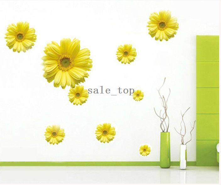 Flowers Decorative Mirror Glass Wall Stickers Yellow Chrysanthemum - Yellow wall decals