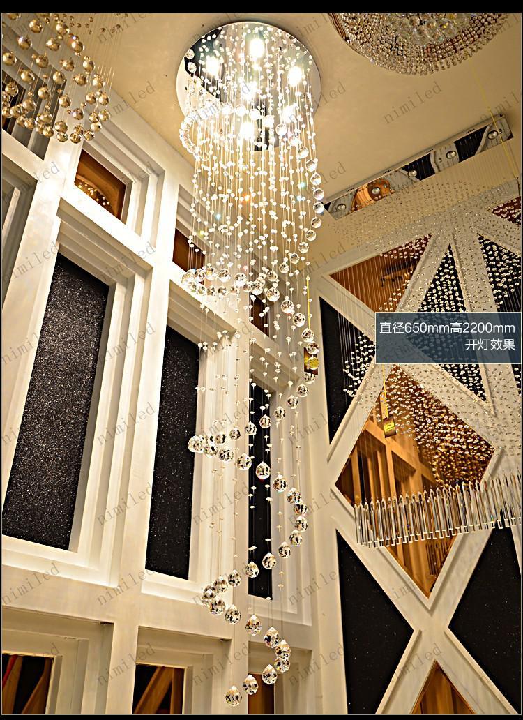 nimi106 D22 / D35 / D55 / D65 / D80 K9 Kristallleuchter Anhänger Droplight Moderne Kronleuchter Treppe Foyer Eingangshalle Beleuchtung