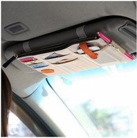 Wholesale Multifunction Cloth Organizer - Multifunction Car Organizer Sun Visor Point Pockets Oxford Cloth Bag Cell Phone Card Bills Debris Pouch Cars Mini Storage Container Bags